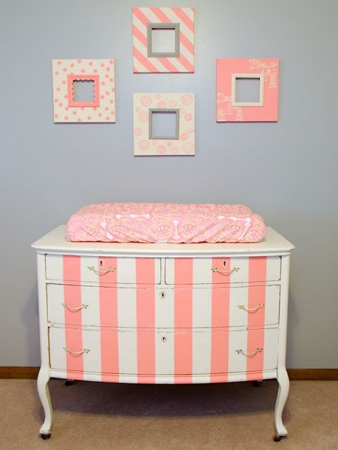 Pink Striped Changing Table