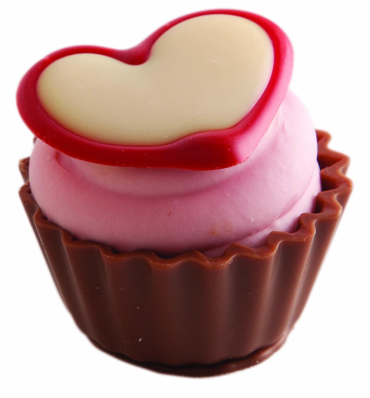 Cupcake com recheio de morango