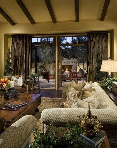 Family Room Doors To The Perfect Outdoor Welcoming Spot Love The Outdoor Living Area Best Mediterranean Decor Tuscan Decorating Family Room Design
