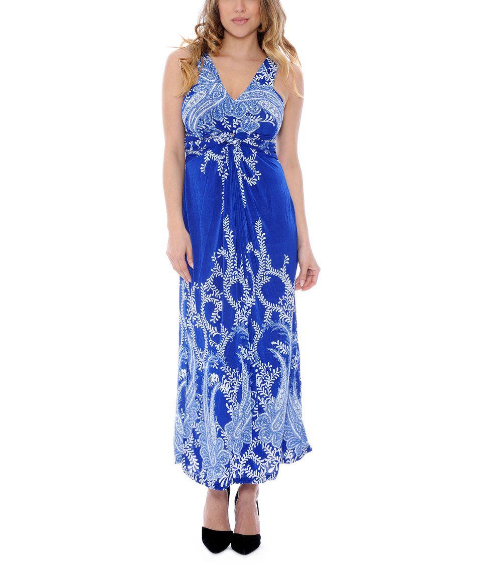 Another great find on #zulily! Prestige Edge Blue & White Paisley Silk-Blend Maxi Dress - Women by Prestige Edge #zulilyfinds