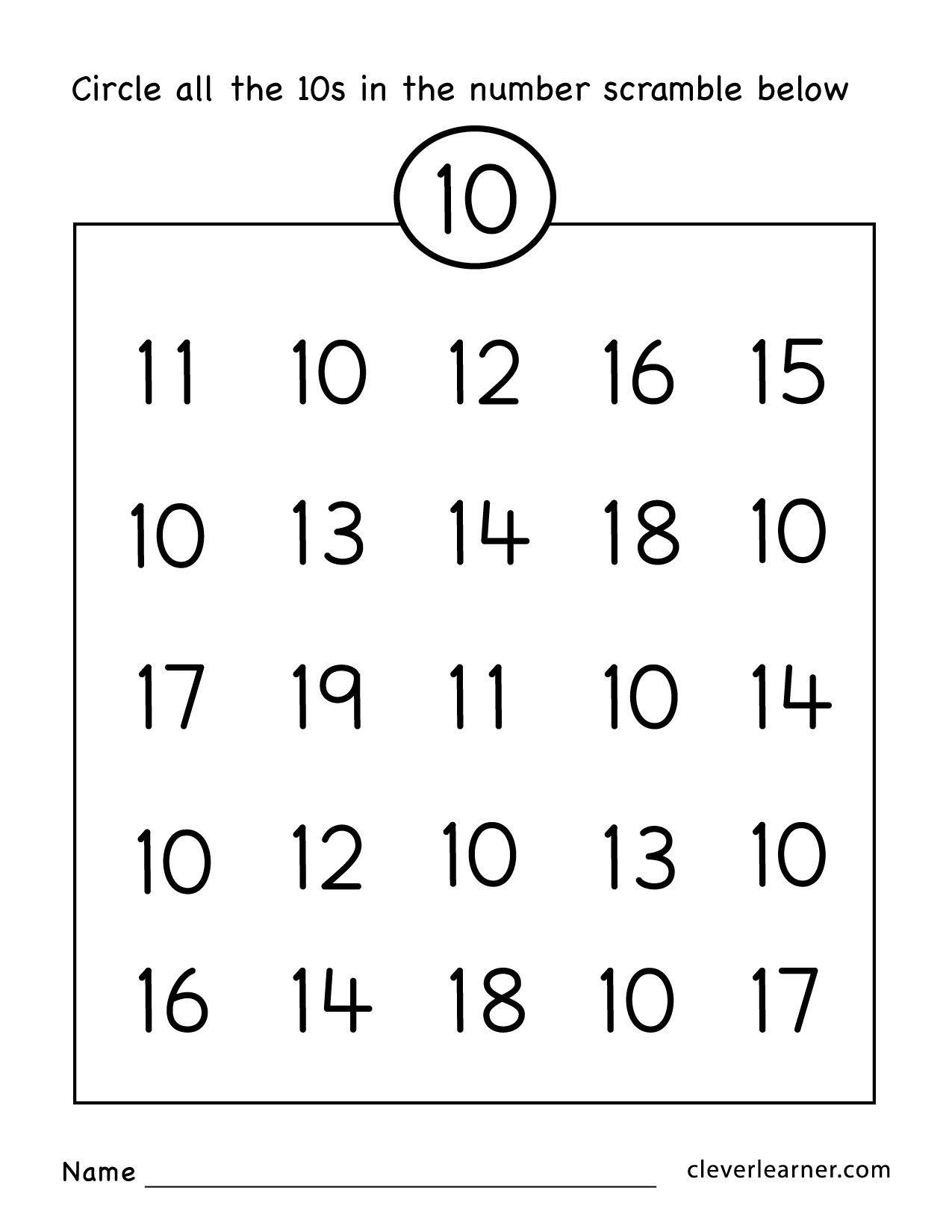 16 Preschool Number 10 Worksheets Esl Worksheets Kids