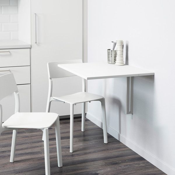 Ikea Norberg Wall Mounted Drop Leaf Table White 40 Liked On Polyvore Featuring Home Furniture Tables Din Drop Leaf Table Leaf Table Wall Mounted Table