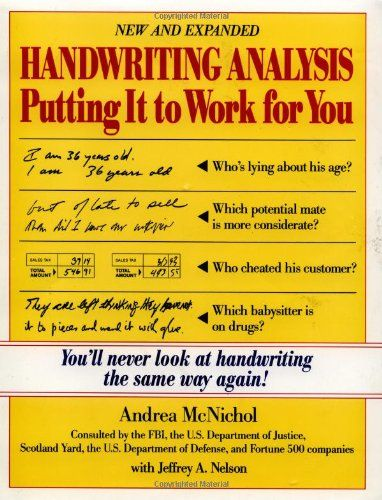Bestseller Books Online Handwriting Analysis Putting It To Work For You Andrea Mcnichol Jeffrey Nelso Handwriting Analysis Analysis Improve Your Handwriting