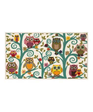 owl kitchen rugs ideas for kitchens ivory owls flowers rug by oriental weavers zulily kids