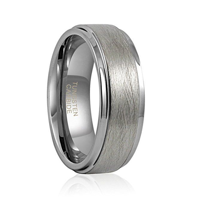 Tungsten Ring Matte Brushed Finish Grooved Comfort Fit Polished 8mm mens Wedding Band