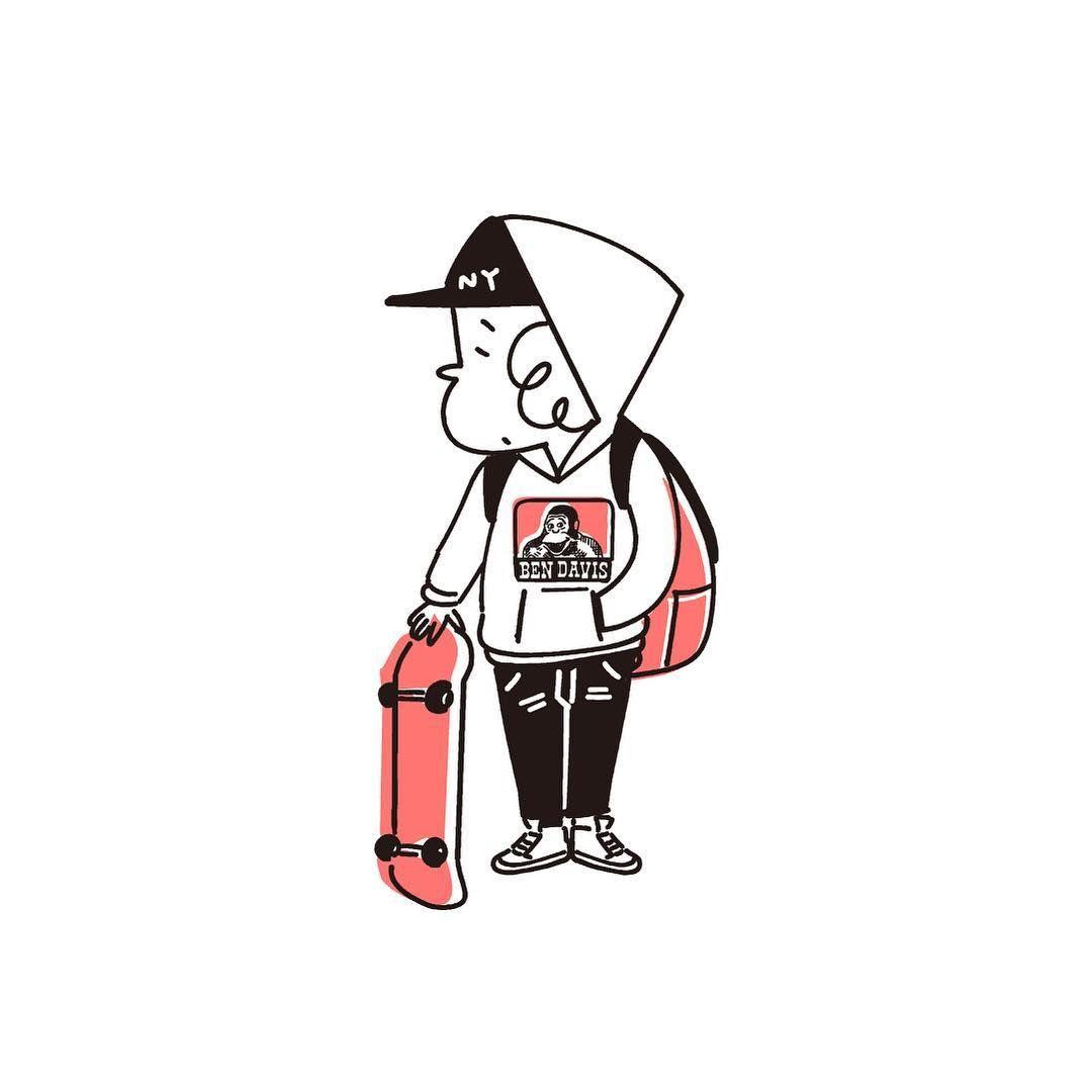 イラスト イラストレーター Illustration スケボー サーフィン