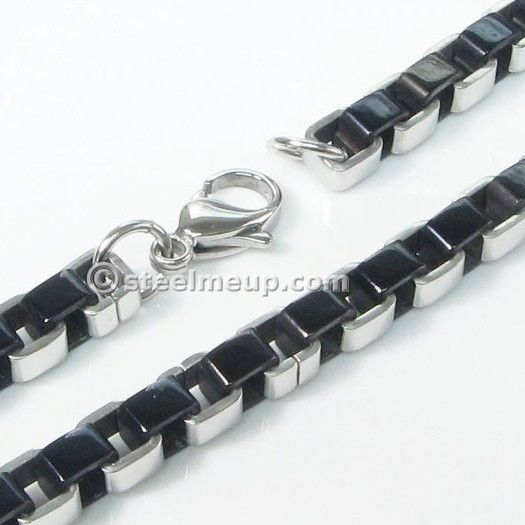 Stainless Steel Wide Black Box Chain Men Necklace 6mm