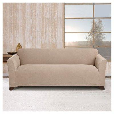 Stretch Maya Sofa Slipcover Khaki Sure Fit True Khaki