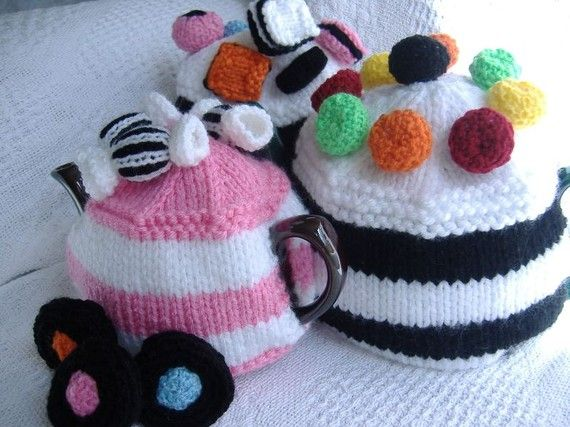 Pdf Knitting Pattern Striped Tea Cosy With Sweets Uk Seller