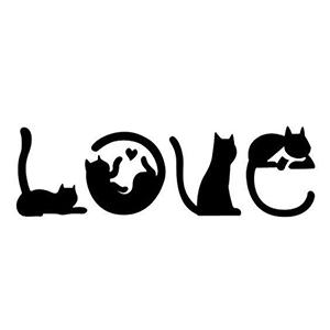 Cat Love Die Cut Vinyl Decal PV2424