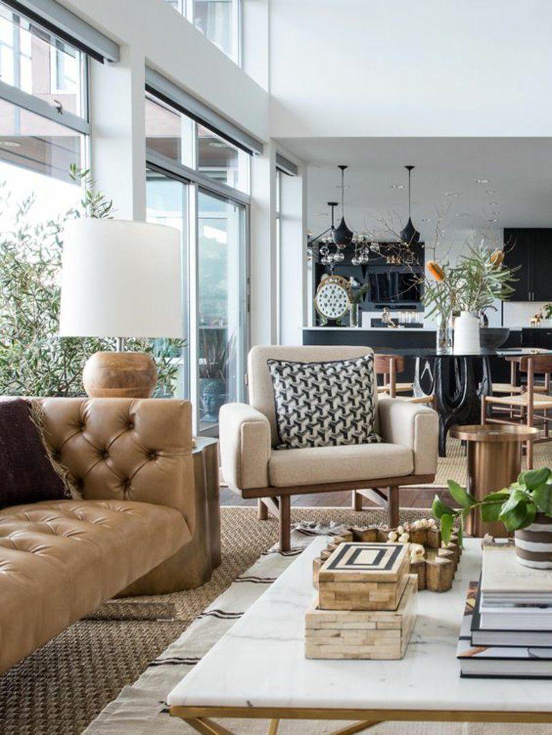 Apartment Interior With 4 Rooms: Wohnzimmer Im Klassischen Stil Einrichten Ledersofa