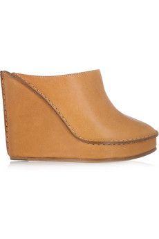 13a34da2519 Chloe leather wedge mules