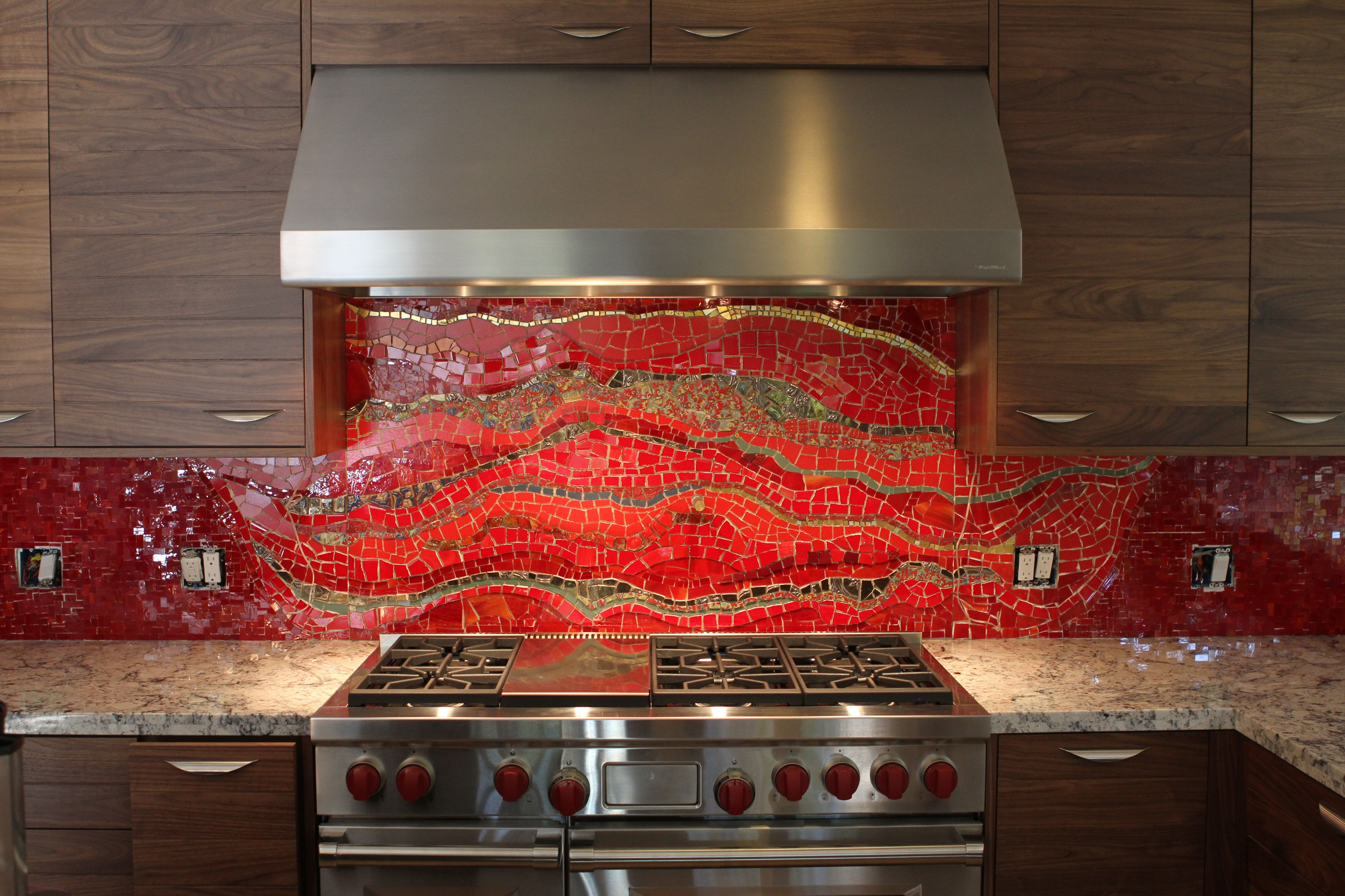 Bethpurcellmosaics Red Kitchen Backsplash