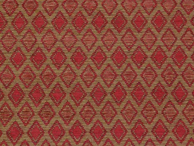 Red Aztec Trellis Chenille Upholstery Fabric The
