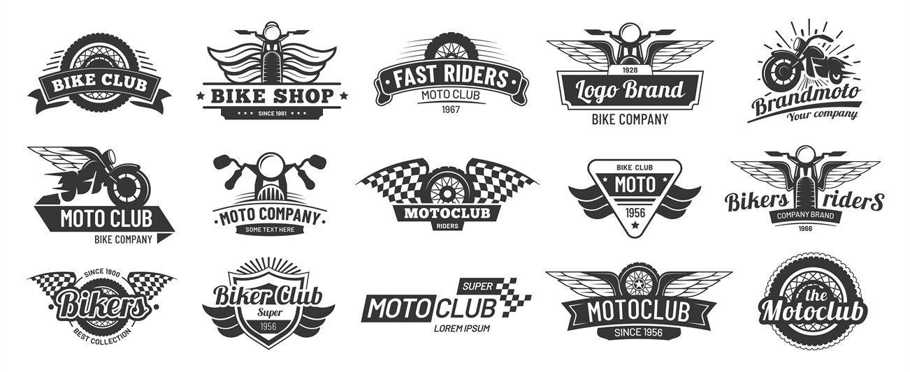 Biker Club Emblems Retro Motorcycle Rider Badges Moto Sports Emblem By Tartila Thehungryjpeg Com Retro Spo Retro Motorcycle Biker Clubs Motorcycle Riders