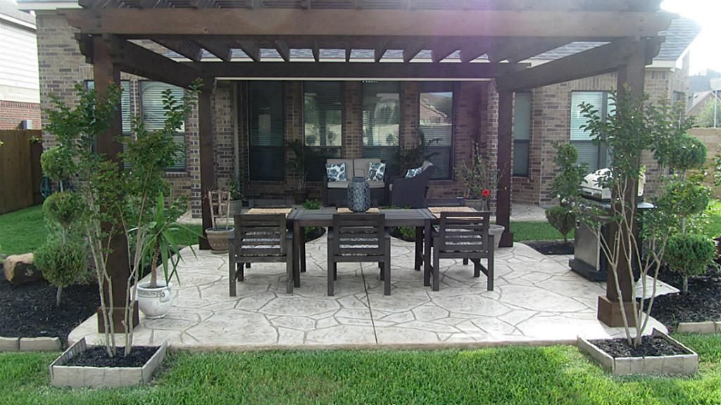Backyard With Pergola stamped concrete patio with pergola | gorgeous backyard with a