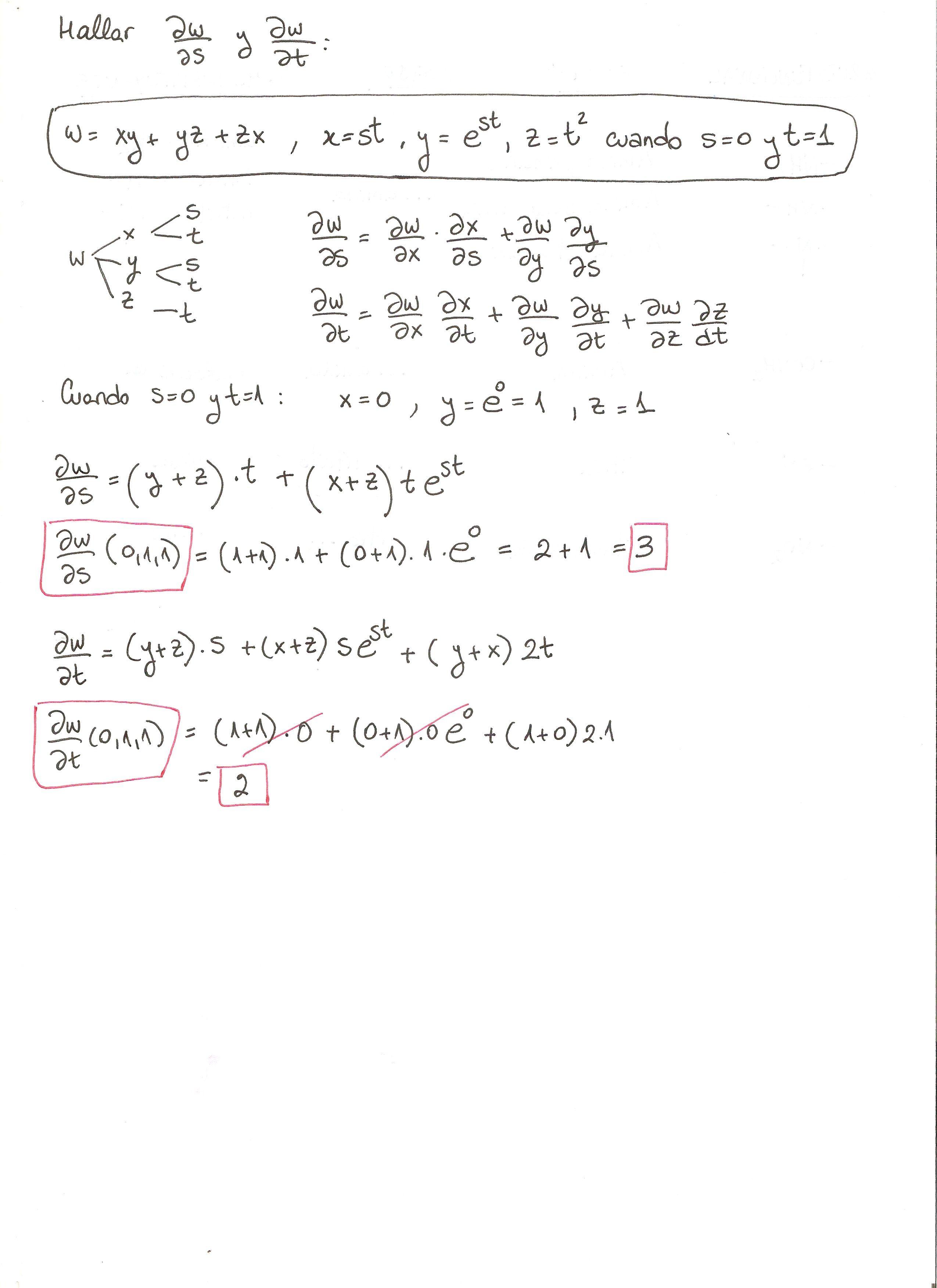 Ejercicio 6 Resuelto Tema Regla De La Cadena Funciones De Varias Variables Regla De La Cadena Matematicas Regla