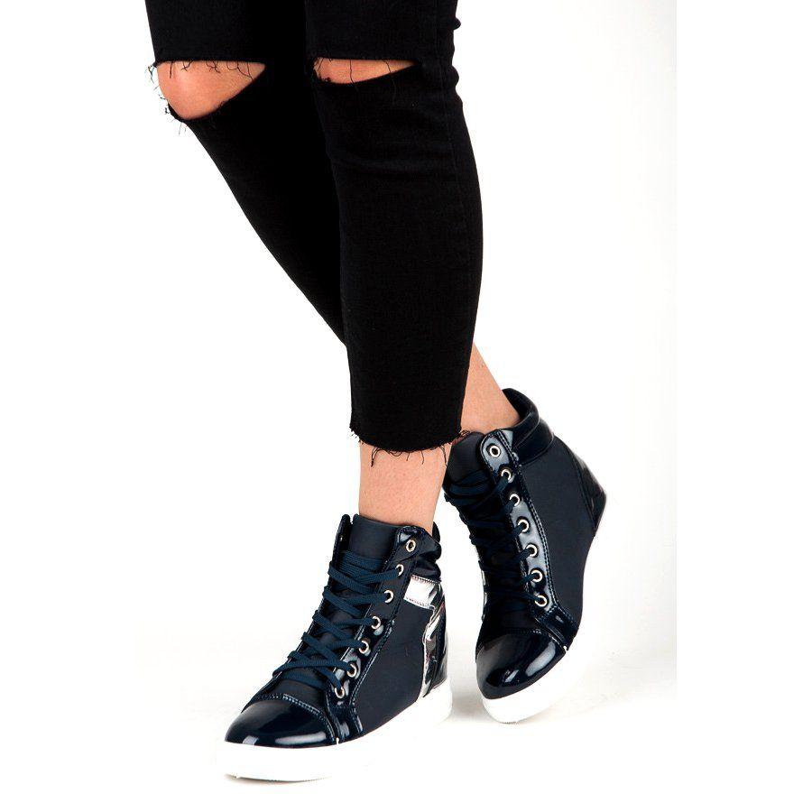 Trampki Damskie Emaks Niebieskie Lakierowane Sneakersy Emaks Fashion Black Jeans Black