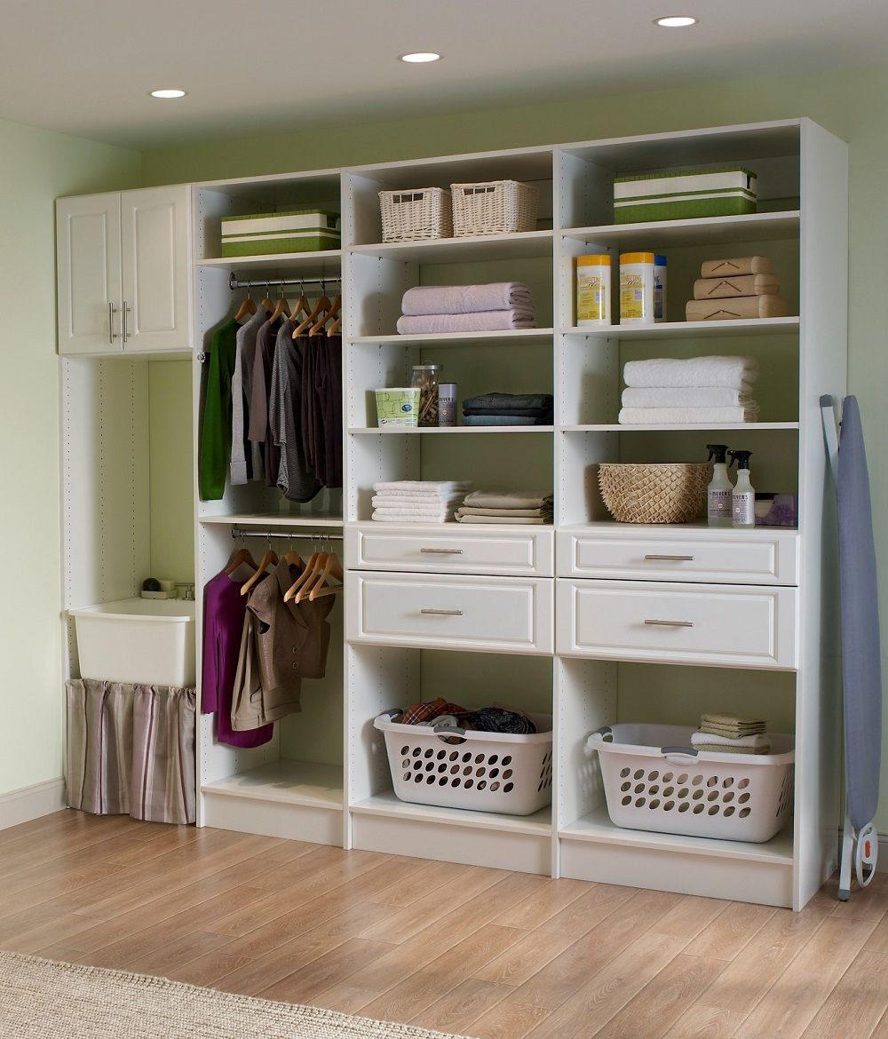 when planning your laundry room storage, remember to leave space forwhen planning your laundry room storage, remember to leave space for hampers, hanging clothes, and cleaning supplies! mastersuite closetmaid laundryroom