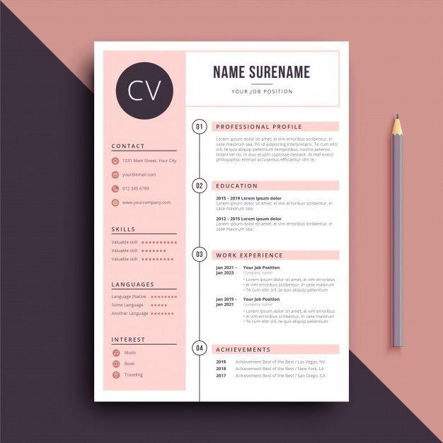 Feminine Color Resume Cv Template