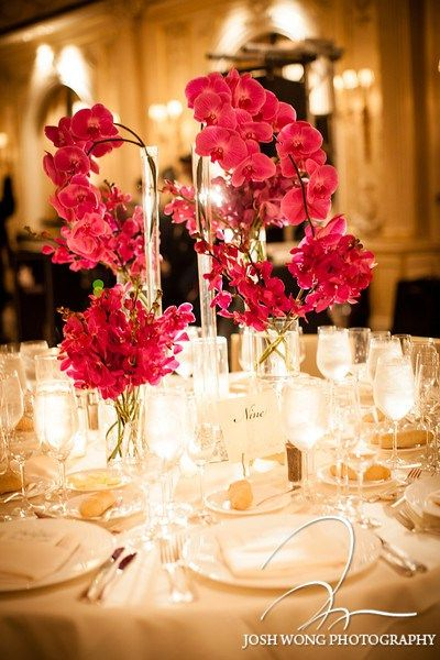 Pink Phalaenopsis Orchid Centerpiece In Tall Eiffel Tower Vases By