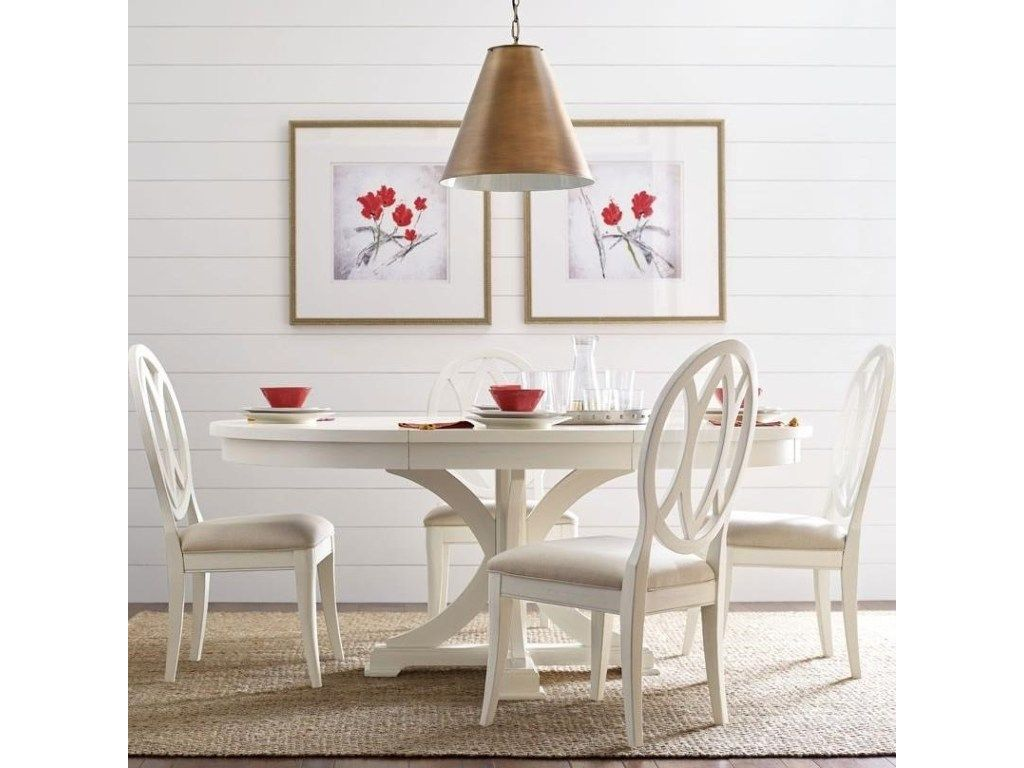 Rachael Round To Oval Dining Pedestal Table And 4 Oval Back Chairs