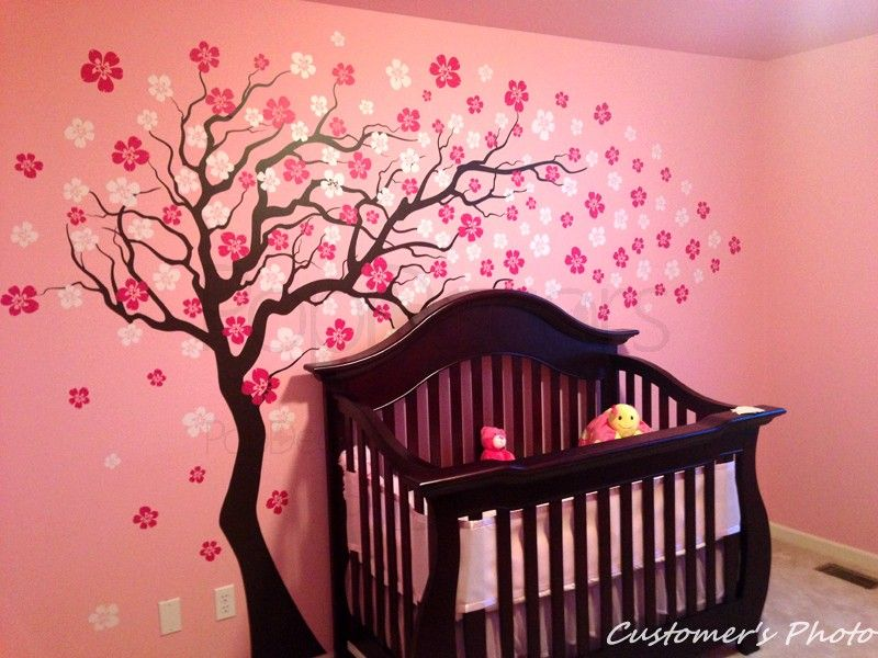Cherry Blossom Tree Wall Decal We Love This Whimsical Decal From Popdecors In The Nursery Playroom Or Kids Room Pnp Wall Decals Removable Wall Decals Cherry Blossom Tree