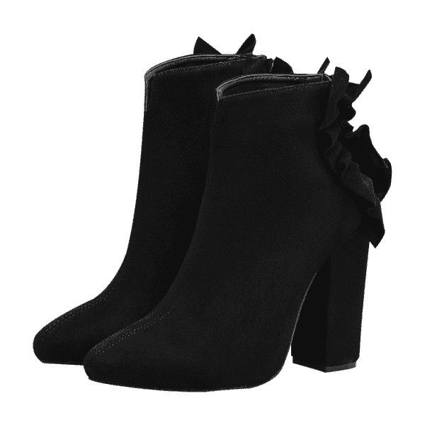 Clearance Get Authentic Many Kinds Of Cheap Online Curve Ruffles Chunky Heel Boots - BLACK Outlet Store Cheap Online Q3P6N