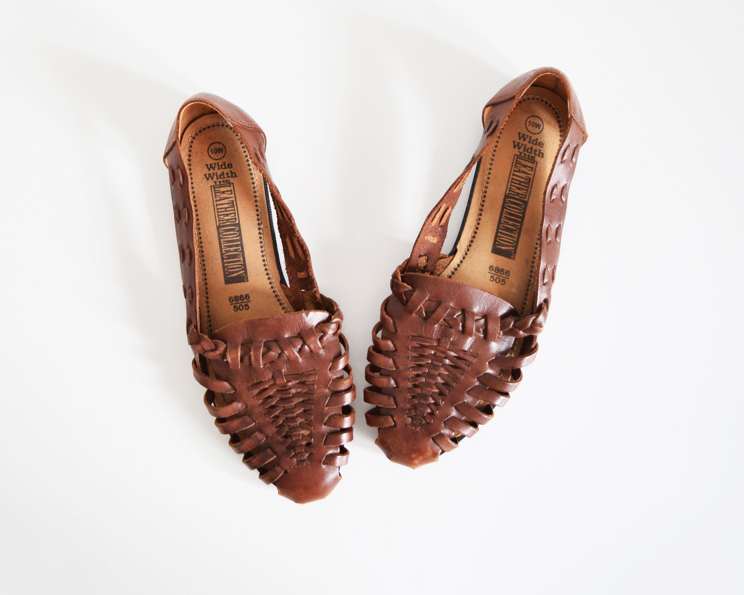 vintage brown woven sandals, leather