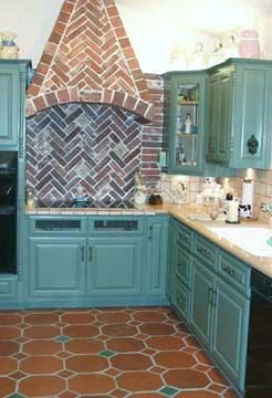 French Country Kitchen With Muted Turquoise Cabinets And 12 Octagon Terra Cotta Tile By Handcraft Tiles