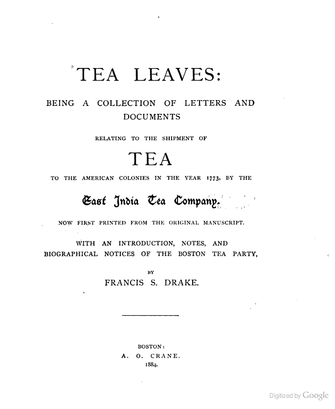 Tea Leaves Being A Collection Of Letters And Documents  Francis