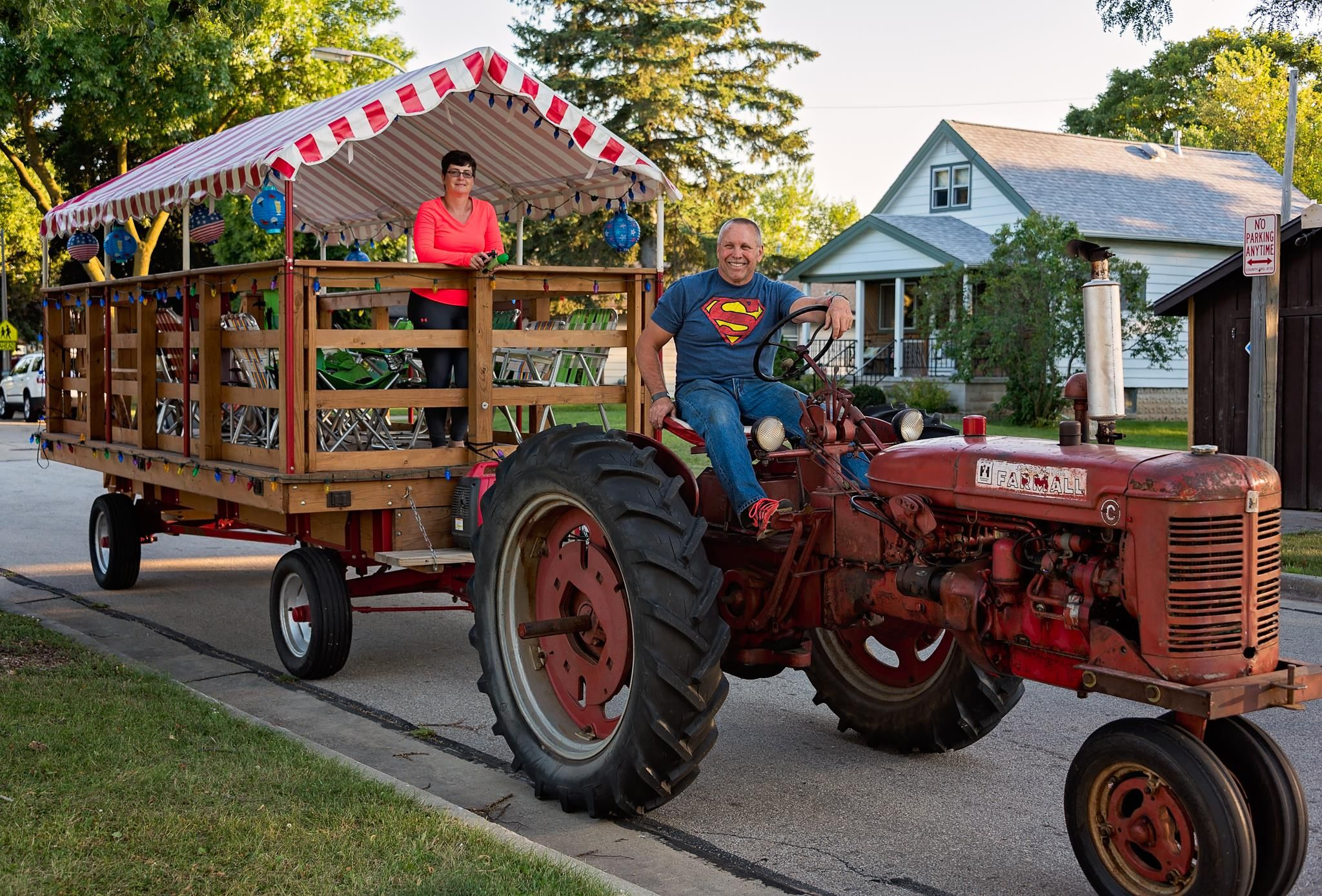 Image result for tractor with wagon and people