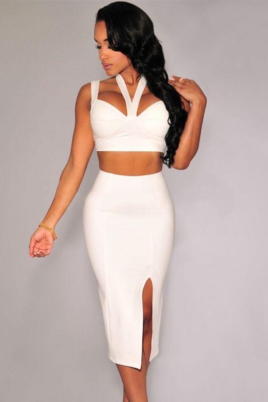 89cbadbc6d Sexy Halter Neck Sleeveless White Skirt Set | Fashion #Trendy ...
