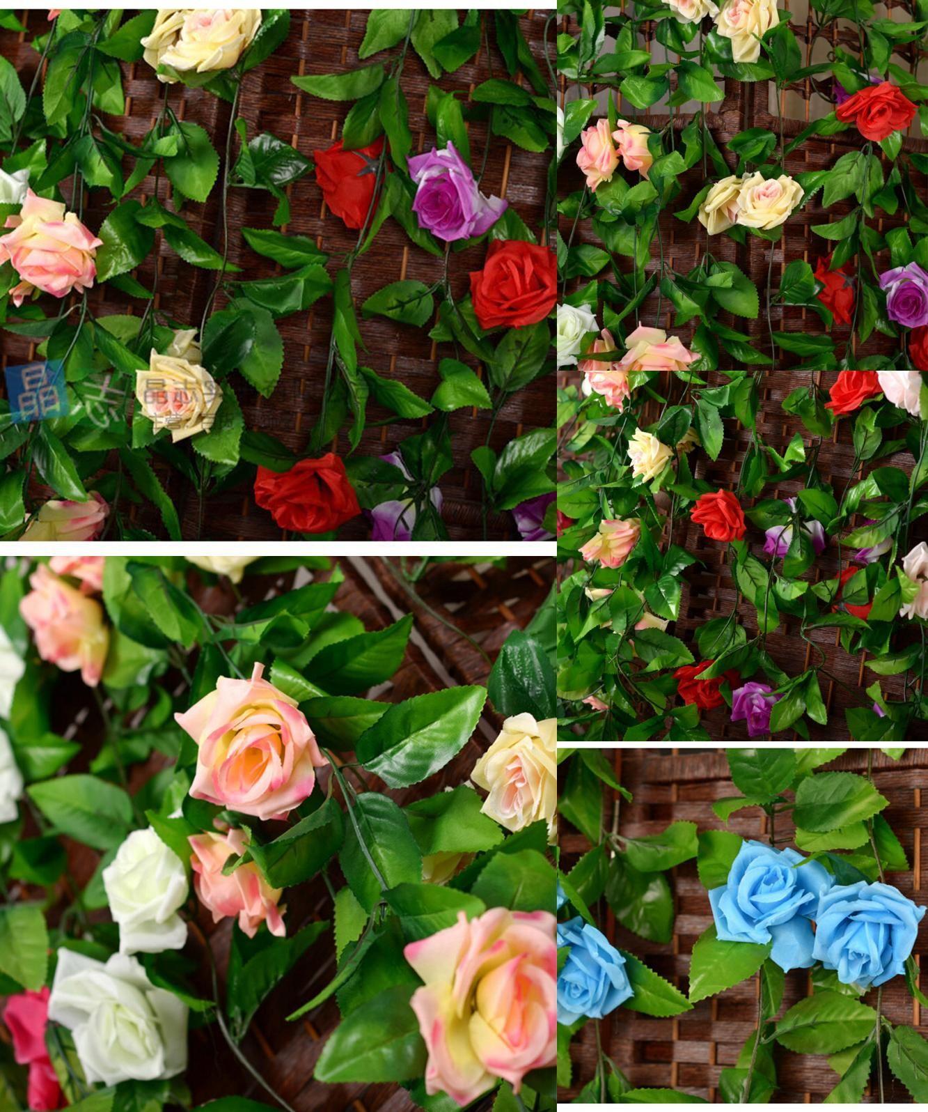 Visit To Buy Rose Pink Yellow White In Purple Fake Silk Roses Ivy