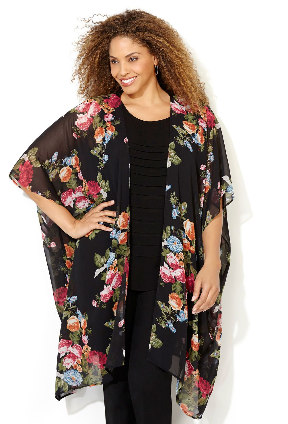 Sheer Floral Kimono Duster-Plus Size Duster-Avenue not sure what i ...