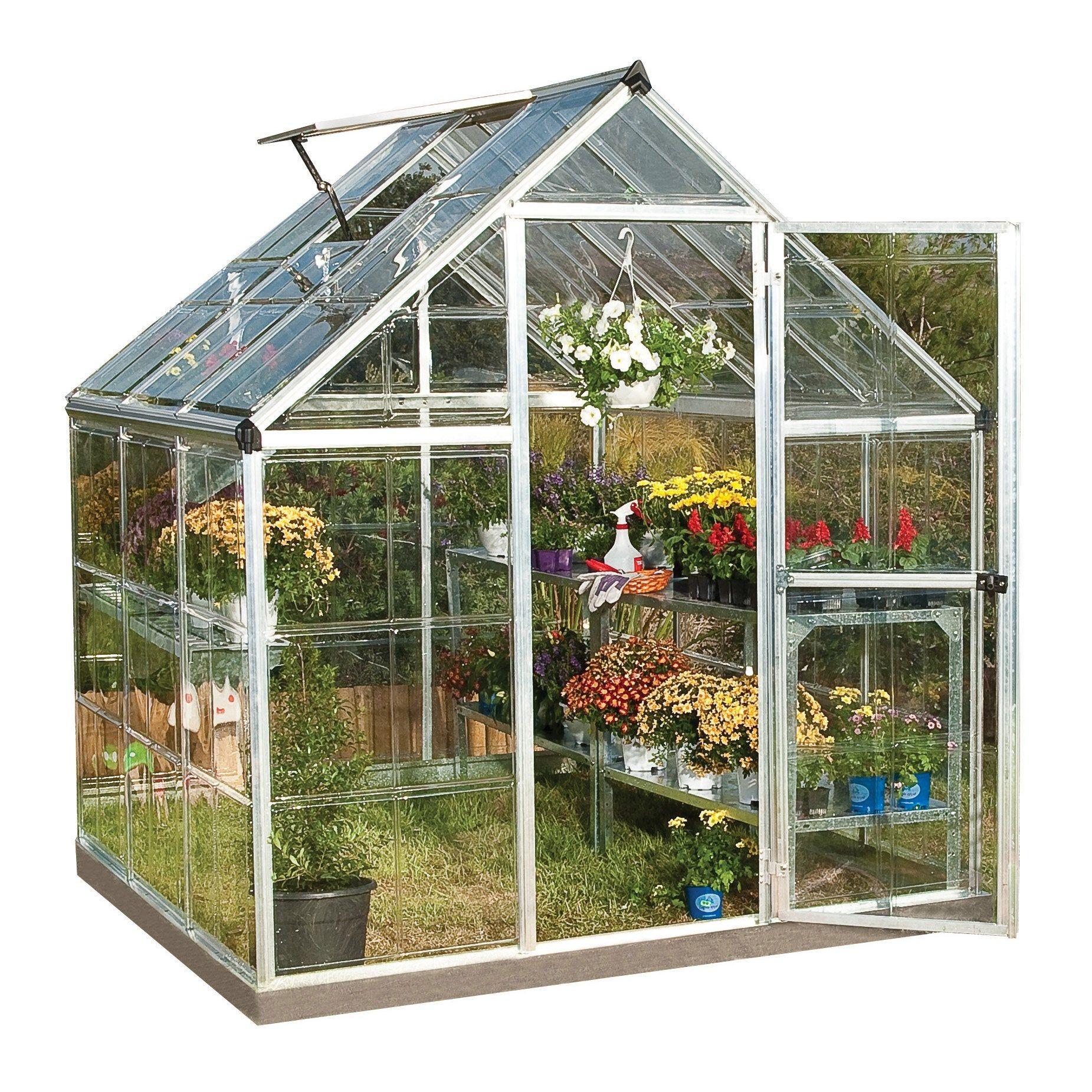 Serre De Jardin Argent Harmony 3 4 M Aluminium Et Polycarbonate Palram En 2020 Serre Polycarbonate Maison Verte Et Serre Jardin