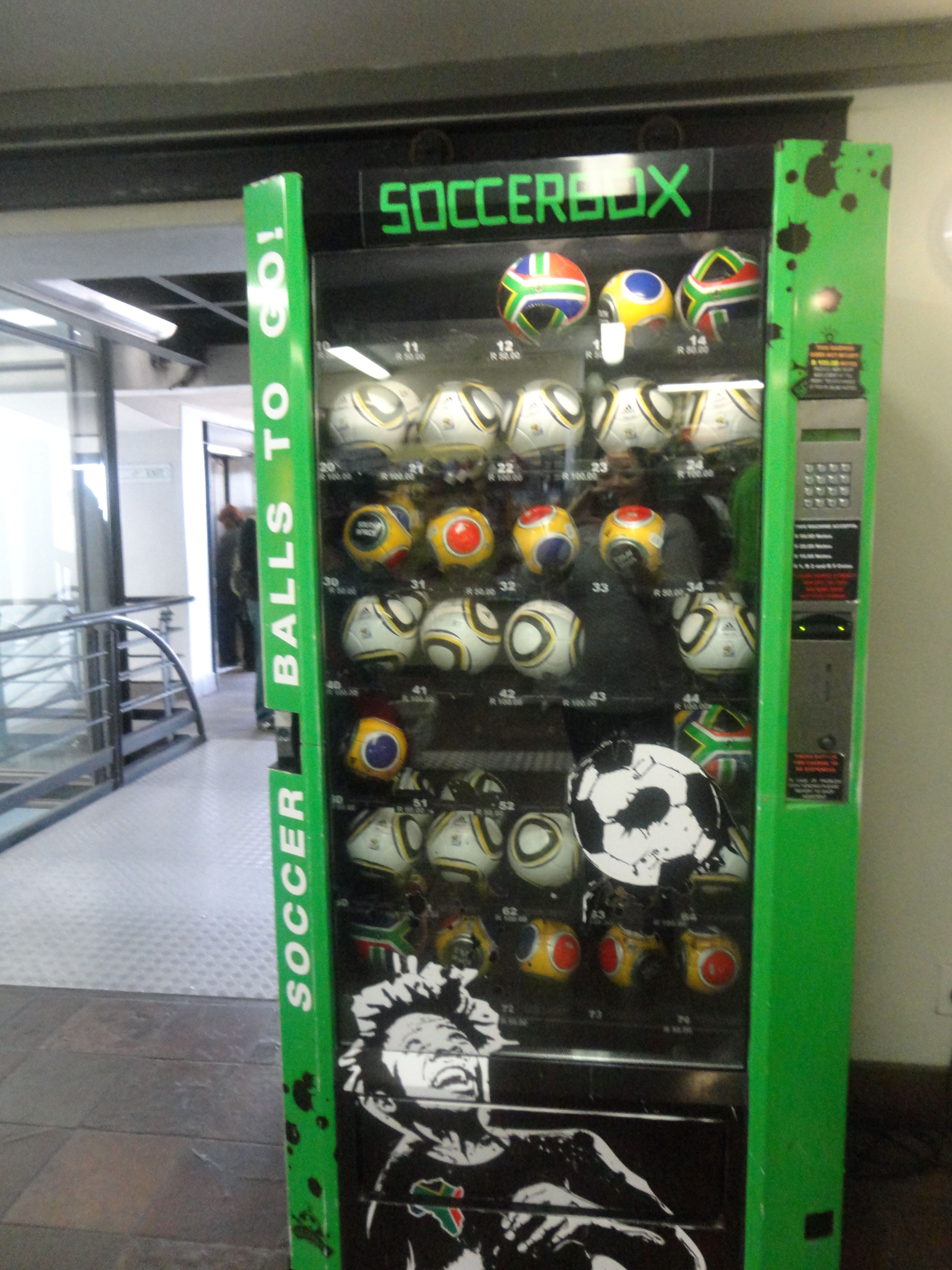Soccer ball vending machine at Table Mountain, Cape Town