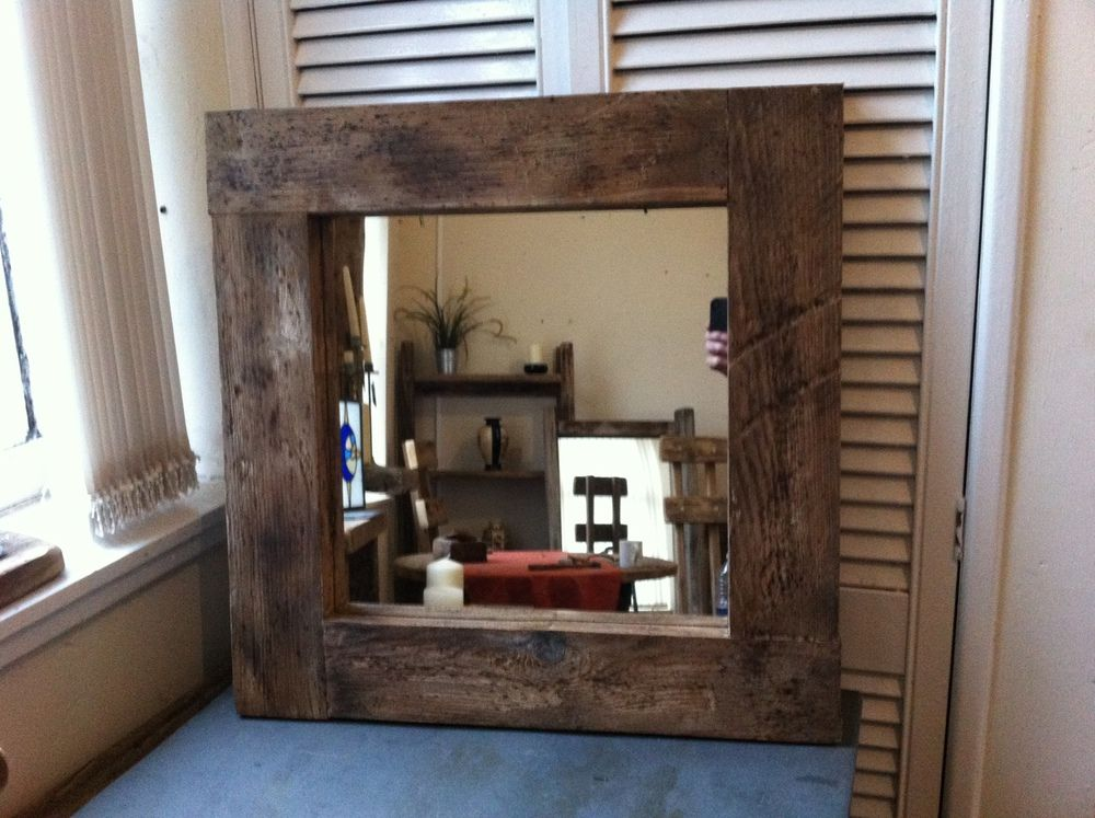 square rustic reclaimed wooden framed mirror dimensions x 60 cm with wide frame mirror glass x 40 cm hand made quality wooden framed mirror in mottled dark