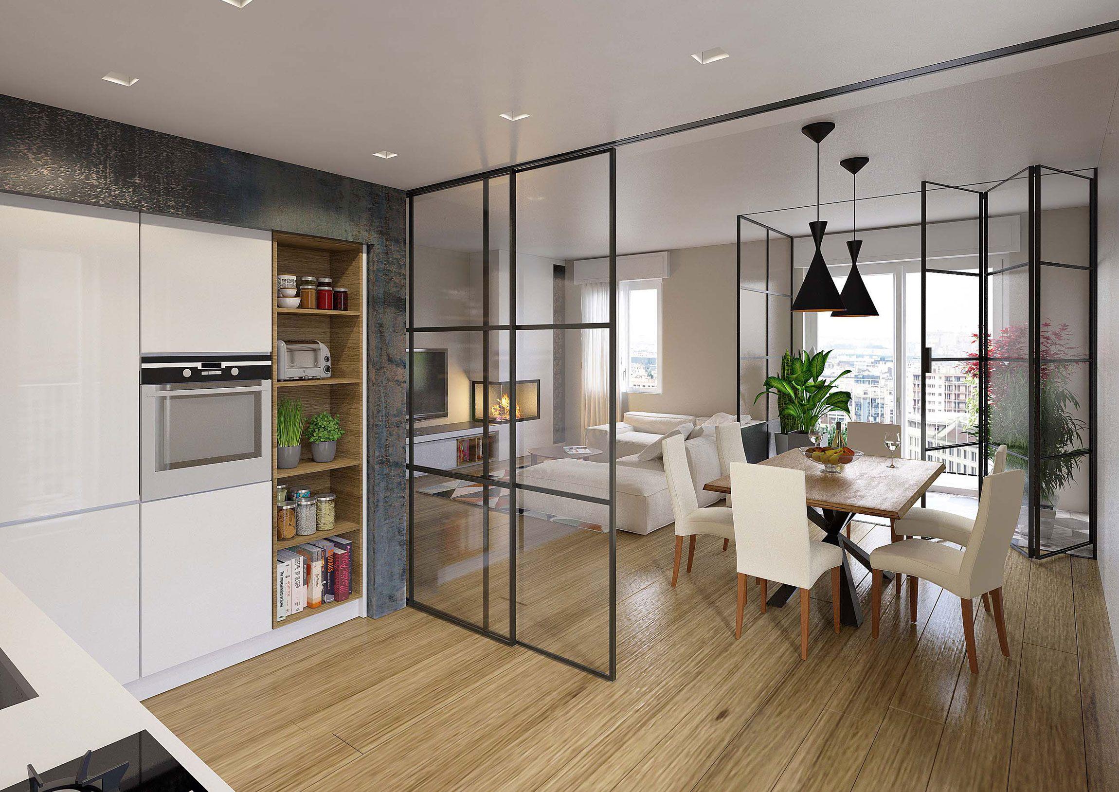 Parete vetrata ferro e vetro pieghevole porta nel - Cucine con vetrate ...