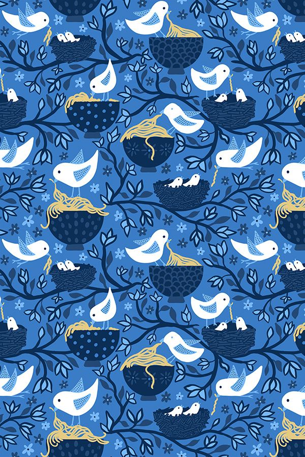 Pretty spring fabric featuring birds feeding noodles to their babies! #birds #noodles #spring #surfacedesign #repeatpattern #spoonflower