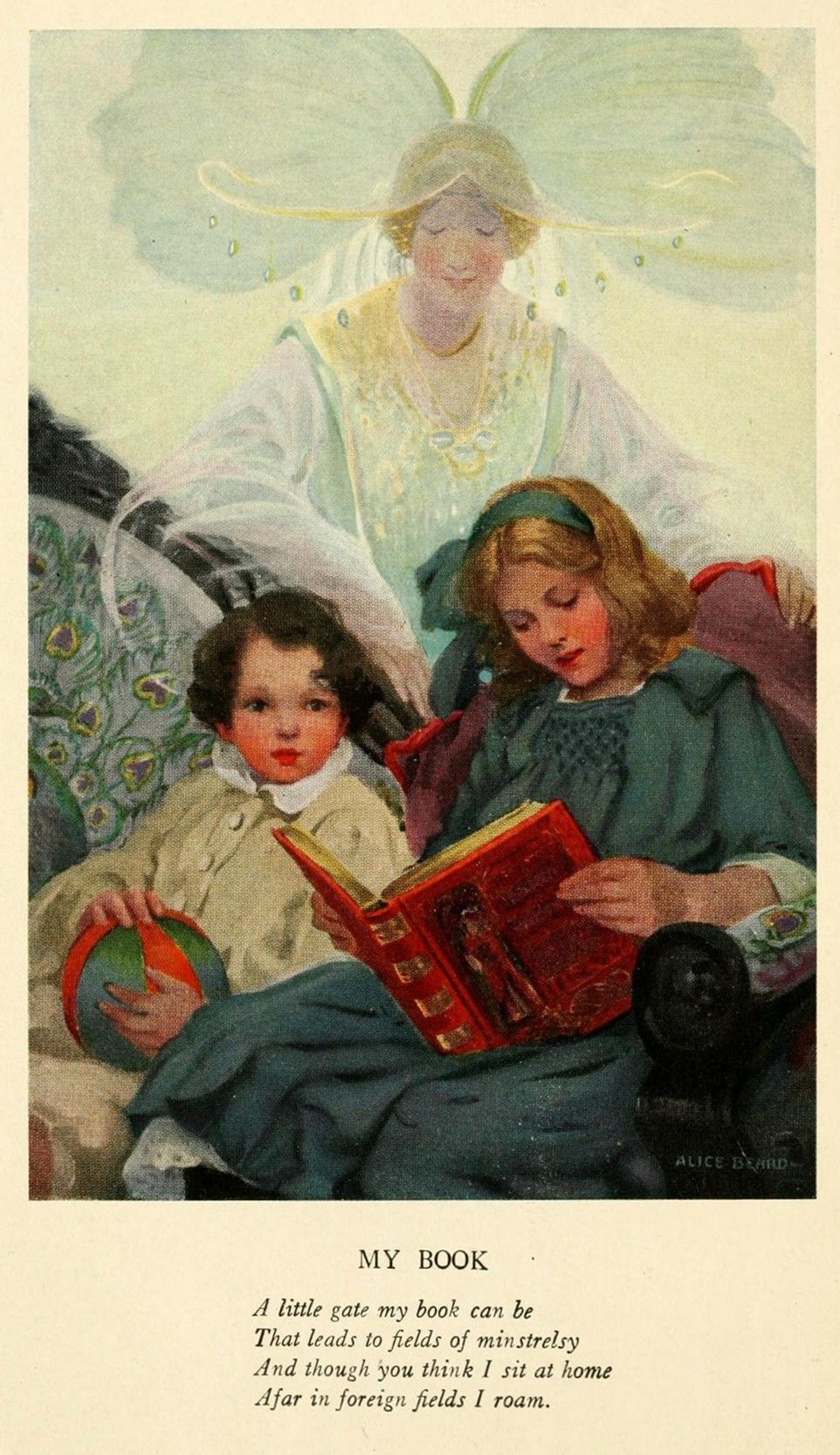 Frontispiece by Alice Beard ~ For Days and Days: A Year-Round Treasury of Child Verseby Annette Wynne ~ New York: Frederick A. Stokes Company ~ 1919 ~ via