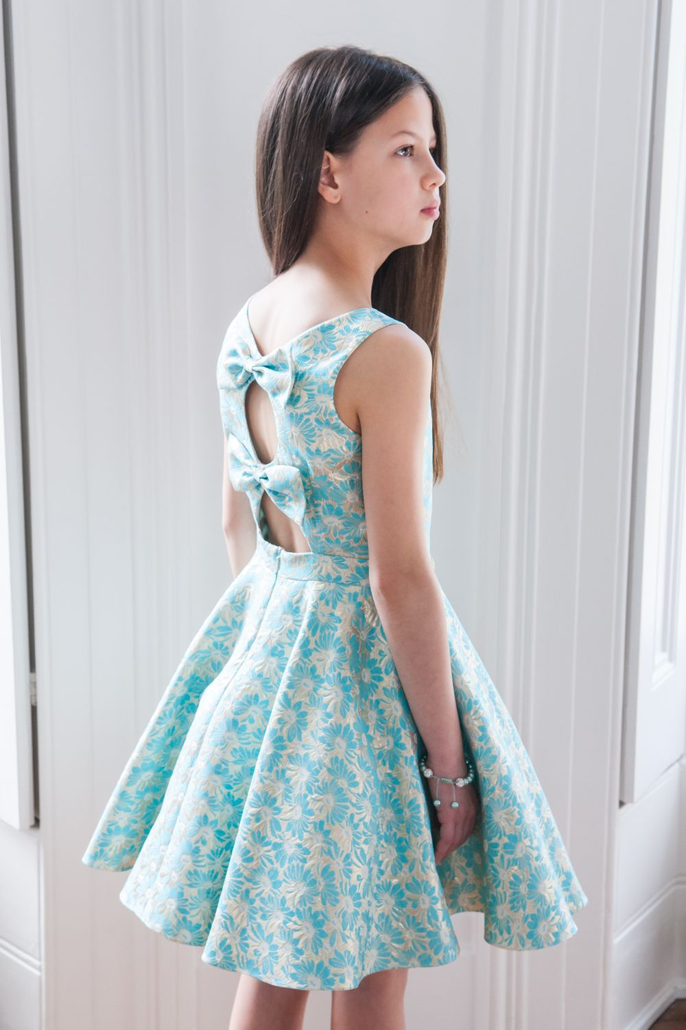 Turquoise Floral Party Dress | Center stage, Birthday celebration ...