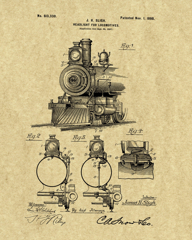 Headlight For Locomotive Patent Print 1898