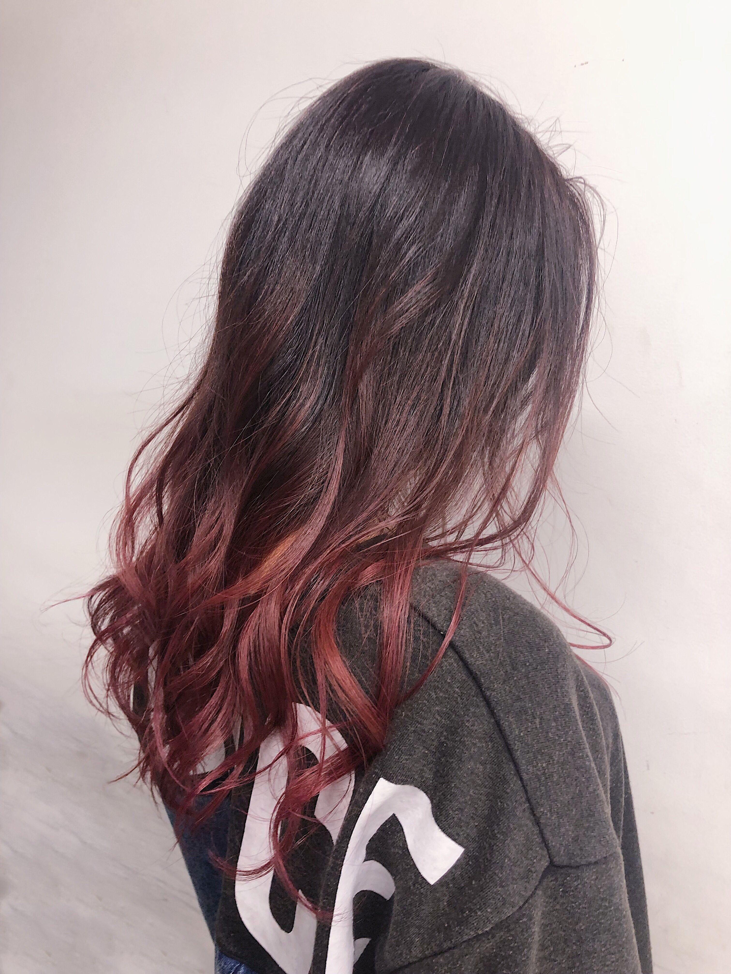 ブリーチ1回で映える暖色系カラー グラデーションヘア 髪 色 ヘアカラー