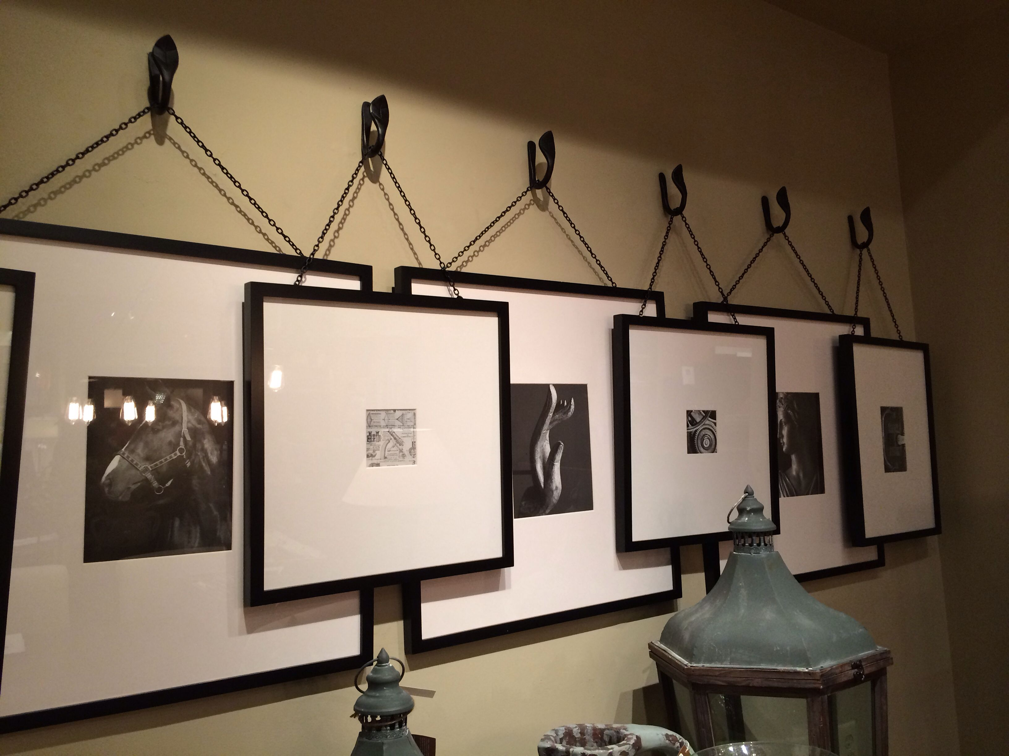 Cool Idea For Hanging Pictures From A Series Of Hooks Frame Wall Collage Teal Living Rooms Picture Collage Wall