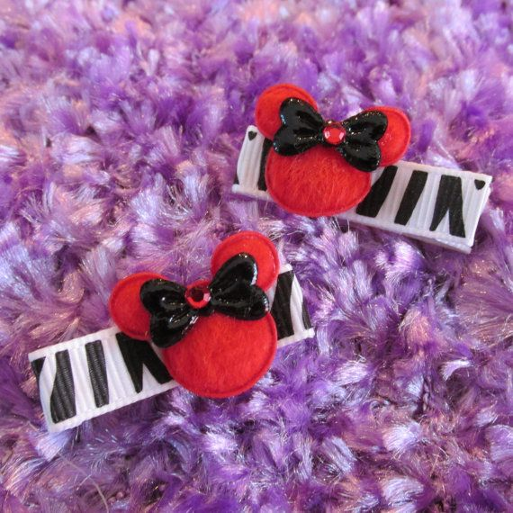 Set of Two Mini MINNIE Hair Clips Two by Sootysdressupfriends, $4.50