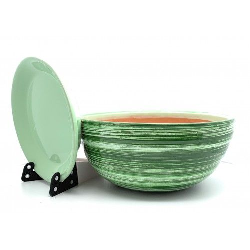Suncakes Glazed Ceramic Plant Pot With Saucer Shallow Chiotolla