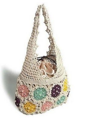 Pretty crochet bag, love the drawstring lining- there is no pattern but this looks fairly easy to figure out.