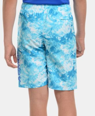 613da213ad Under Armour Big Boys Marble-Print Volley Swim Trunks - Blue S (7/8 ...