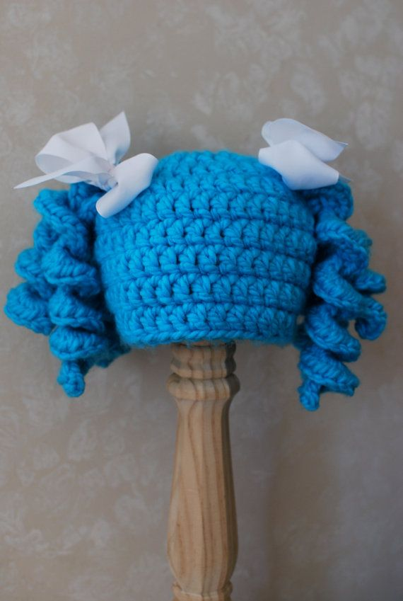 Crochet Pigtail Curls Hat Wig with Ribbons Lalaloopsy Mittens ...